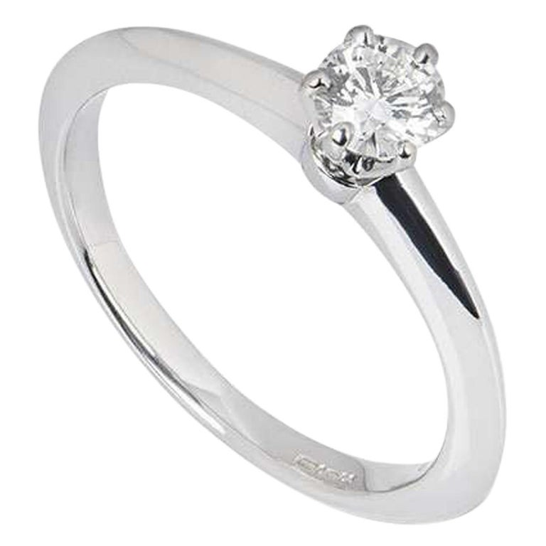 Tiffany & Co. Round Brilliant Cut Diamond Solitaire Engagement Ring 0.32 Carat For Sale