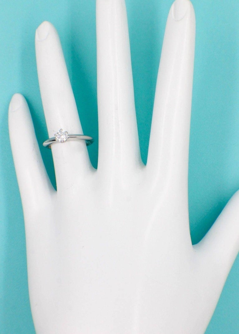 Round Cut Tiffany & Co. Round Brilliant Diamond 0.28 Carat Platinum Engagement Ring Papers For Sale