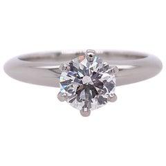 Tiffany & Co. Round Brilliant Diamond 0.79 Carat F VS1 Engagement Ring Platinum