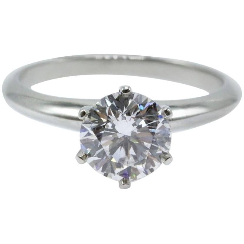 Tiffany & Co. Round Brilliant Diamond Ring 1.29 Cts D VVS2 in Platinum