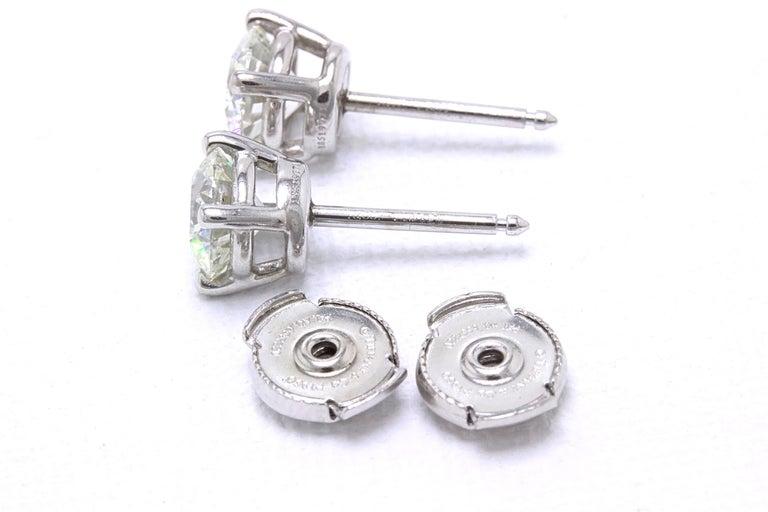 Tiffany & Co Round Brilliant Diamond Stud Earrings 2.04 TCW I VVS2-VS1 Platinum For Sale 2