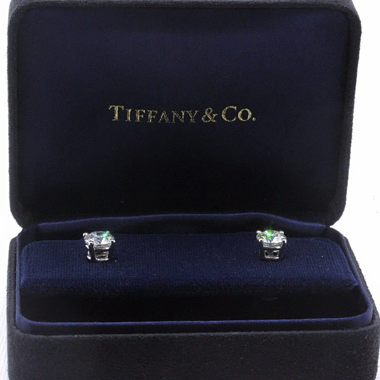 Tiffany & Co Round Brilliant Diamond Stud Earrings 2.04 TCW I VVS2-VS1 Platinum For Sale 4