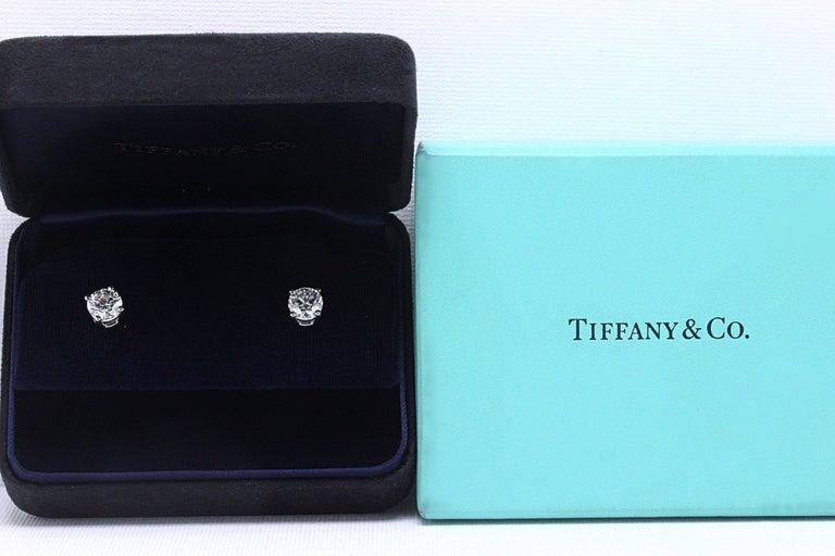 Tiffany & Co Round Brilliant Diamond Stud Earrings 2.04 TCW I VVS2-VS1 Platinum For Sale 5