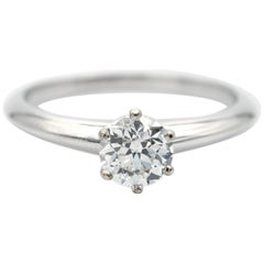 Tiffany & Co. Round Brilliant Platinum Engagement Ring GIA Certified 0.77 Carat