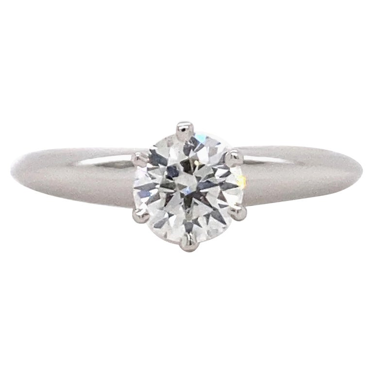 Tiffany & Co. Round Diamond 0.60 Carat I VVS1 Solitaire Platinum Engagement Ring For Sale