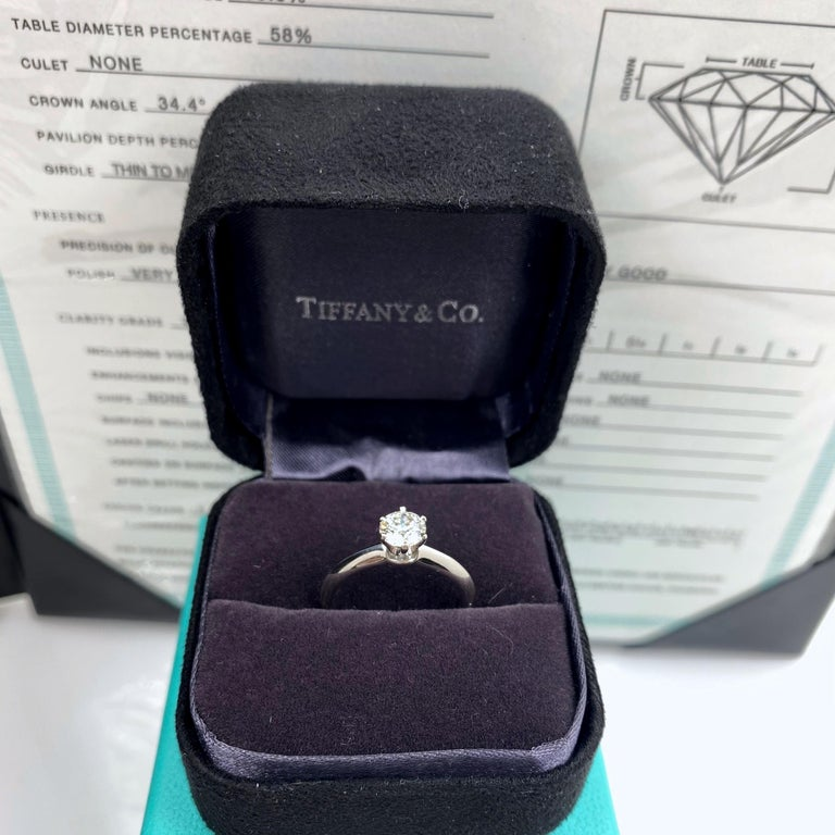 Tiffany & Co. Round Diamond 0.60 Carat I VVS1 Solitaire Platinum Engagement Ring For Sale 5