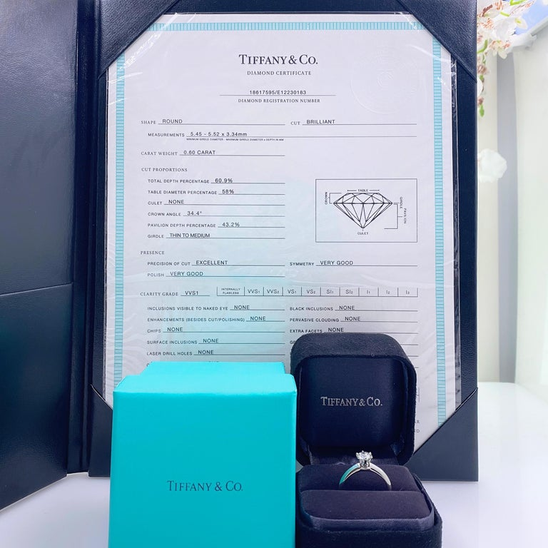 Round Cut Tiffany & Co. Round Diamond 0.60 Carat I VVS1 Solitaire Platinum Engagement Ring For Sale