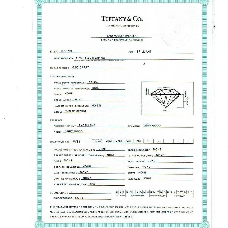 Tiffany & Co. Round Diamond 0.60 Carat I VVS1 Solitaire Platinum Engagement Ring For Sale 2