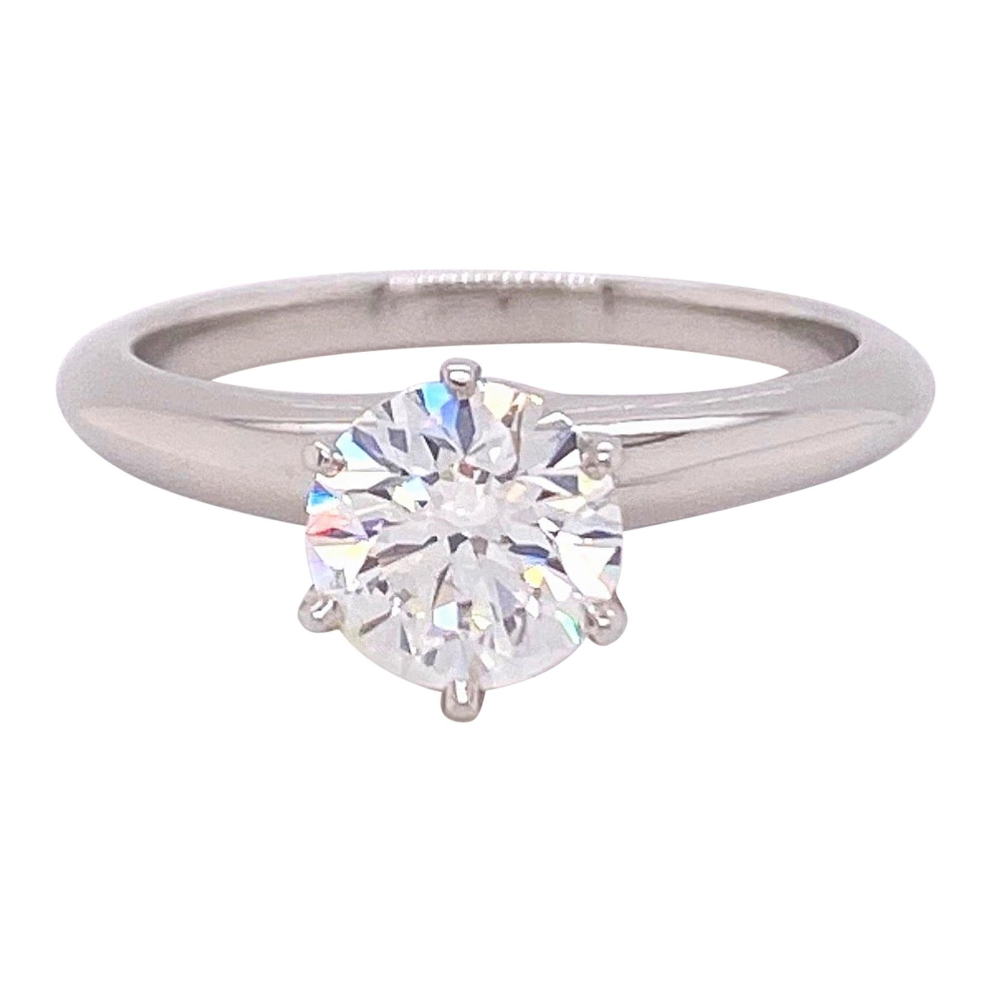 Tiffany & Co. Round Diamond 1.03 Carat G VS1 Solitaire Ring in Platinum