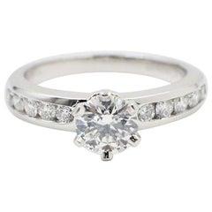 Tiffany & Co. Round Diamond 1.06 Carat Platinum Diamond Band Engagement Ring