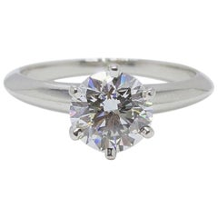 Tiffany & Co. Round Diamond 1.33 cts G VVS1 Platinum Engagement Ring