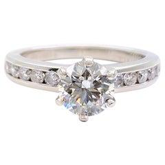 Tiffany & Co. Round Diamond 1.36 Tcw Channel Set Band Engagement Ring Platinum