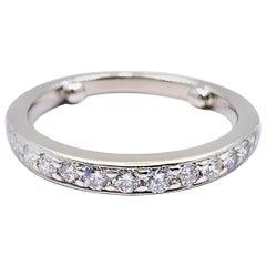 Tiffany & Co. Round Diamond Bead Set Half Circle Band Ring Platinum