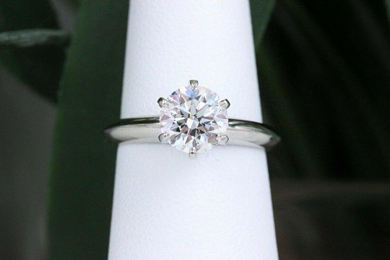 Tiffany & Co. Round Diamond Engagement Ring 1.23 Carat GVS2 Platinum For Sale 5
