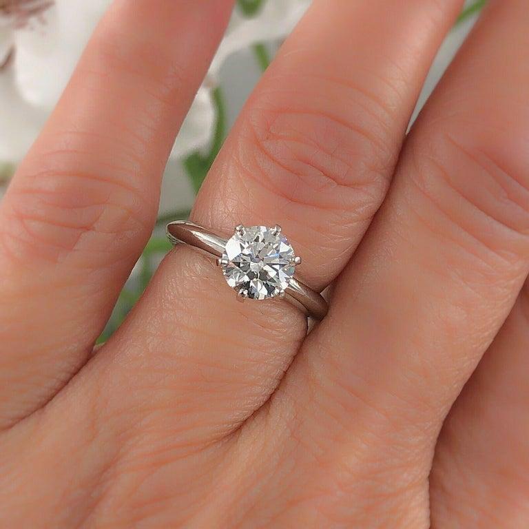 Tiffany & Co. Round Diamond Engagement Ring 1.23 Carat GVS2 Platinum For Sale 6