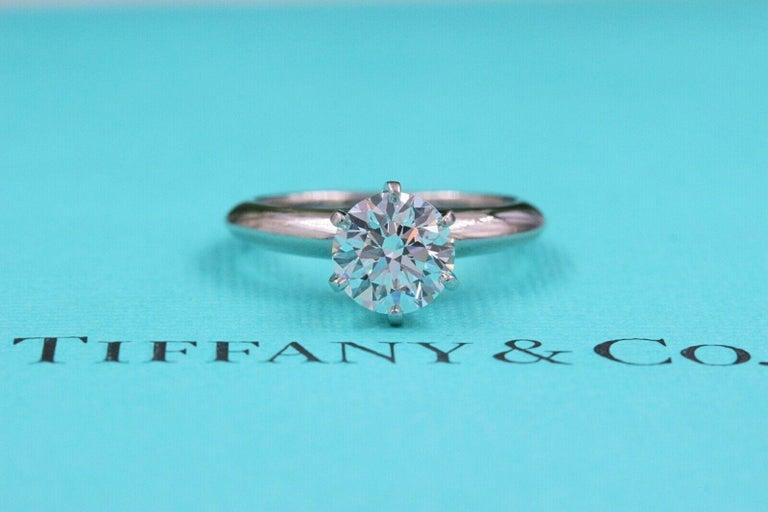 Tiffany & Co. Round Diamond Engagement Ring 1.23 Carat GVS2 Platinum For Sale 7