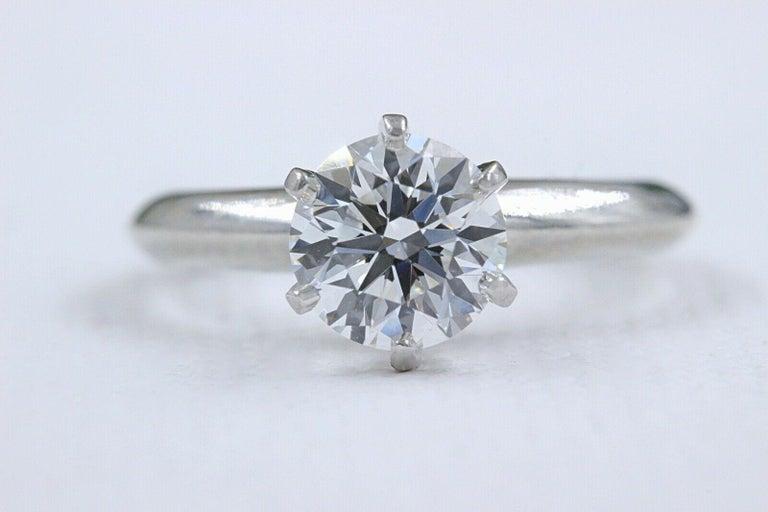 Tiffany & Co. Round Diamond Engagement Ring 1.23 Carat GVS2 Platinum For Sale 2