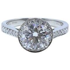 Tiffany & Co. Round Diamond Engagement Ring 1.51 Carat G VS2 in Platinum