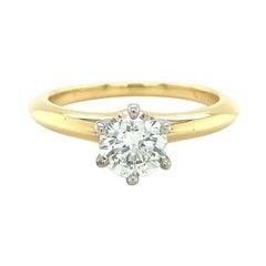 Tiffany & Co. Round Diamond Engagement Ring .70 Ct G VVS1 18k and Platinum