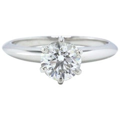 Tiffany & Co. Round Diamond Engagement Ring Solitaire 1.07 Carat F VS1 Platinum