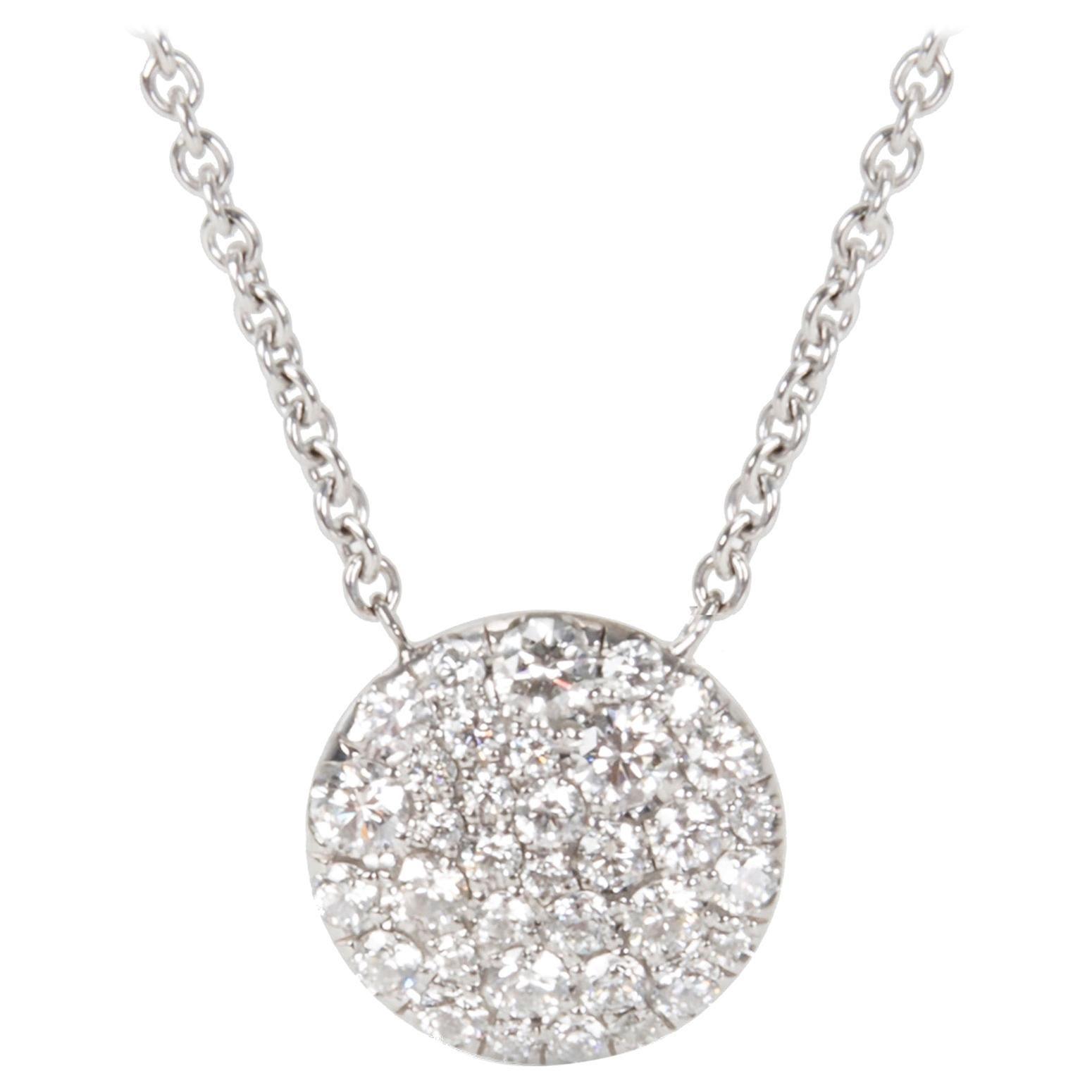 Tiffany & Co. Round Diamond Pendant in 18 Karat White Gold '0.29 CTW'