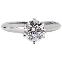 Tiffany & Co. Round Diamond Solitaire Engagement Ring 0.92 Carat E VVS1