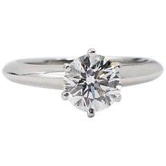 Tiffany & Co. Round Diamond Solitaire Engagement Ring 0.92 Carat E VVS1