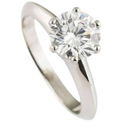 Tiffany & Co. Round Diamond Solitaire Engagement Ring 1.05 Carat GIA Certified