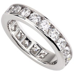 Tiffany Channel Set Platinum Round Diamond Wedding Band