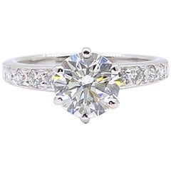 Tiffany & Co. Round Diamond with Channel Set Band 1.41 Carat Ring Plat