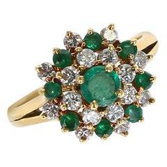 Tiffany & Co. Round Emerald and Diamond Cluster Ring, 18 Karat Yellow Gold