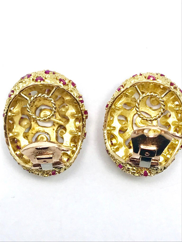 Tiffany & Co. Round Ruby and 18 Karat Yellow Gold Domed Clip Earrings In Excellent Condition For Sale In Washington, DC
