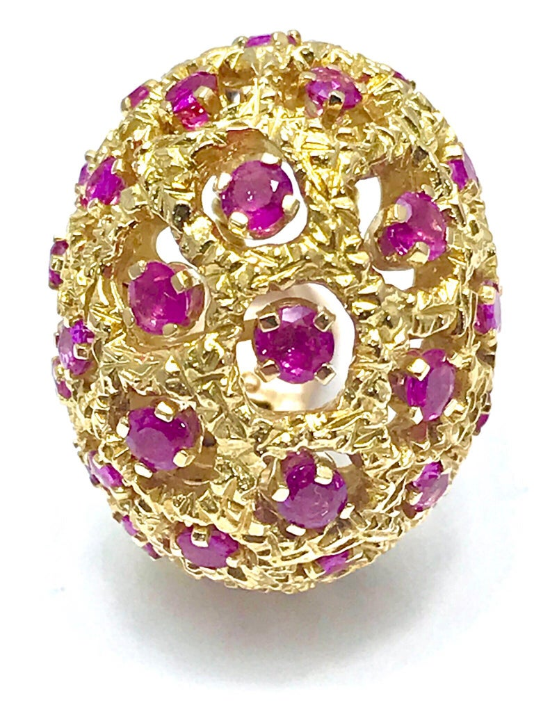 Women's or Men's Tiffany & Co. Round Ruby and 18 Karat Yellow Gold Domed Clip Earrings For Sale