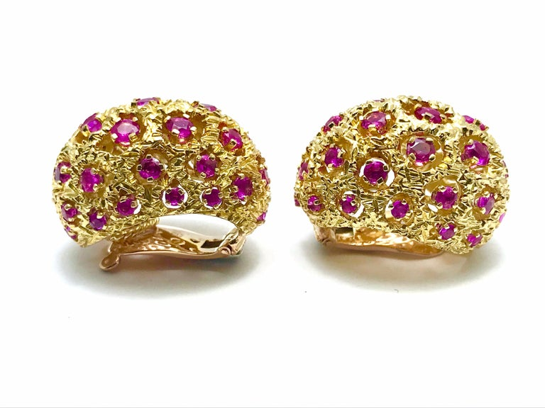 Tiffany & Co. Round Ruby and 18 Karat Yellow Gold Domed Clip Earrings For Sale 2