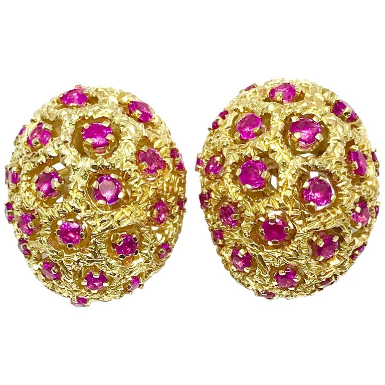 Tiffany & Co. Round Ruby and 18 Karat Yellow Gold Domed Clip Earrings For Sale