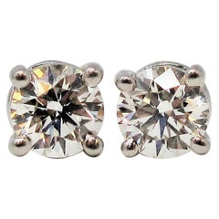 Tiffany & Co. Round Solitaire Diamond Stud Earrings in Platinum F/VS1 .42 Carat