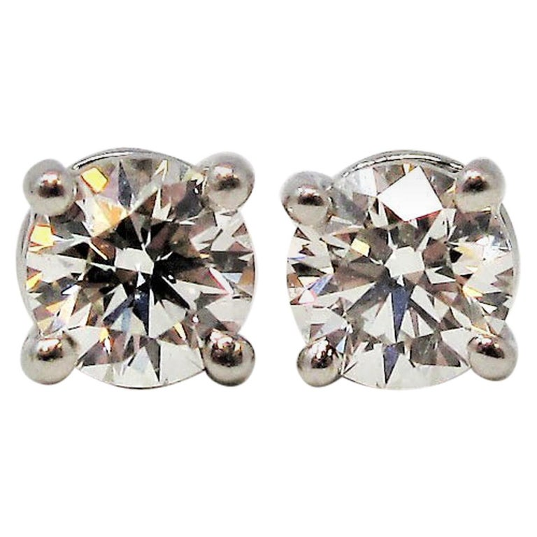 Tiffany & Co. Round Solitaire Diamond Stud Earrings in Platinum F/VS1 .42 Carat For Sale