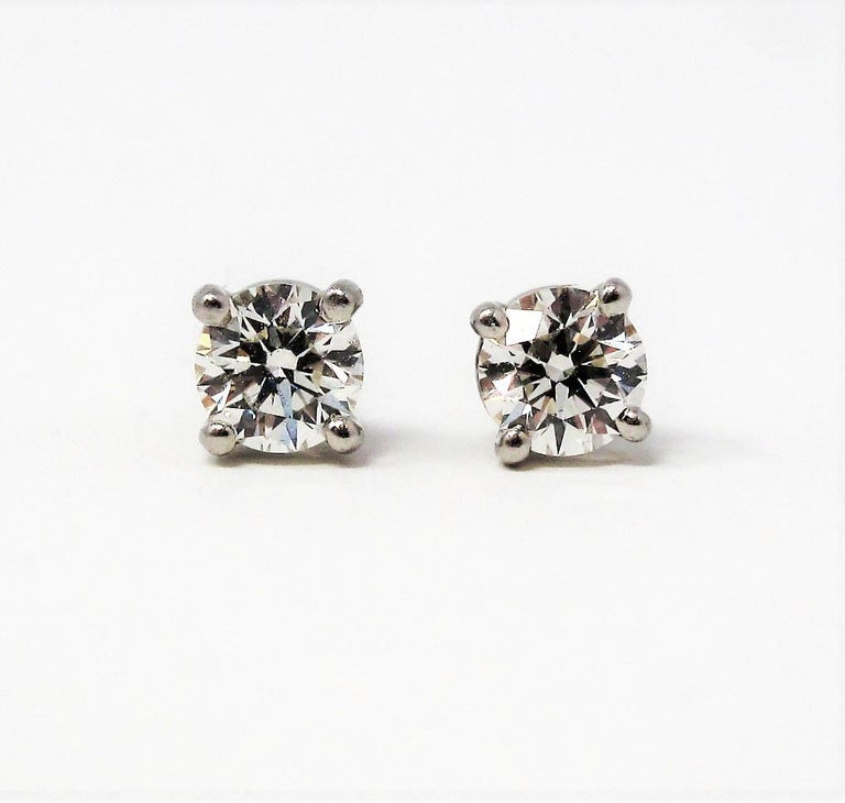 Tiffany & Co. Round Solitaire Diamond Stud Earrings in Platinum F/VS1 .42 Carat For Sale 2