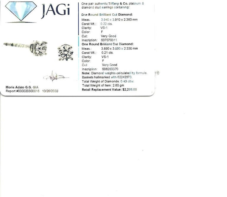 Tiffany & Co. Round Solitaire Diamond Stud Earrings in Platinum F/VS1 .42 Carat For Sale 4