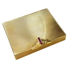 Tiffany & Co. Rubies and 14 Karat Gold Rare 1940s Powder Compact