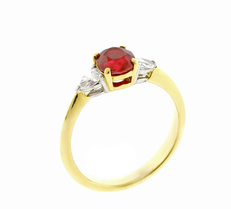 Oval Cut Tiffany & Co. Ruby and Daimond Three-Stone Ring For Sale