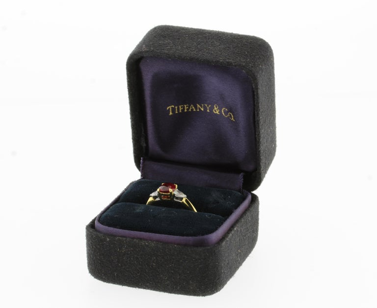 Tiffany & Co. Ruby and Daimond Three-Stone Ring In Excellent Condition For Sale In Bethesda, MD