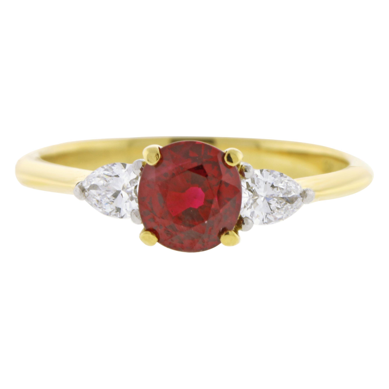 Tiffany & Co. Ruby and Daimond Three-Stone Ring