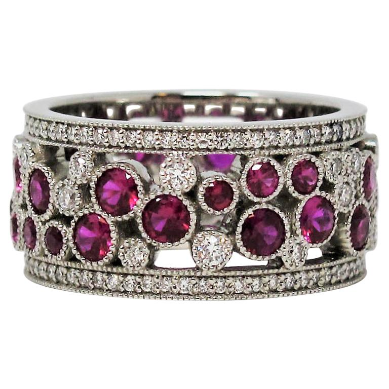 Tiffany & Co. Ruby and Diamond Cobblestone Eternity Band Ring in Platinum 6.5