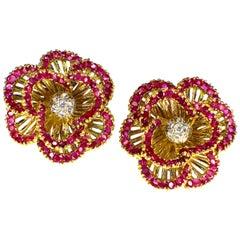 Tiffany & Co. Ruby and Diamond Earclips, 1960s