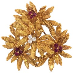 Tiffany & Co. Ruby and Diamond Floral Cluster 22 Karat Yellow Gold Brooch Pin