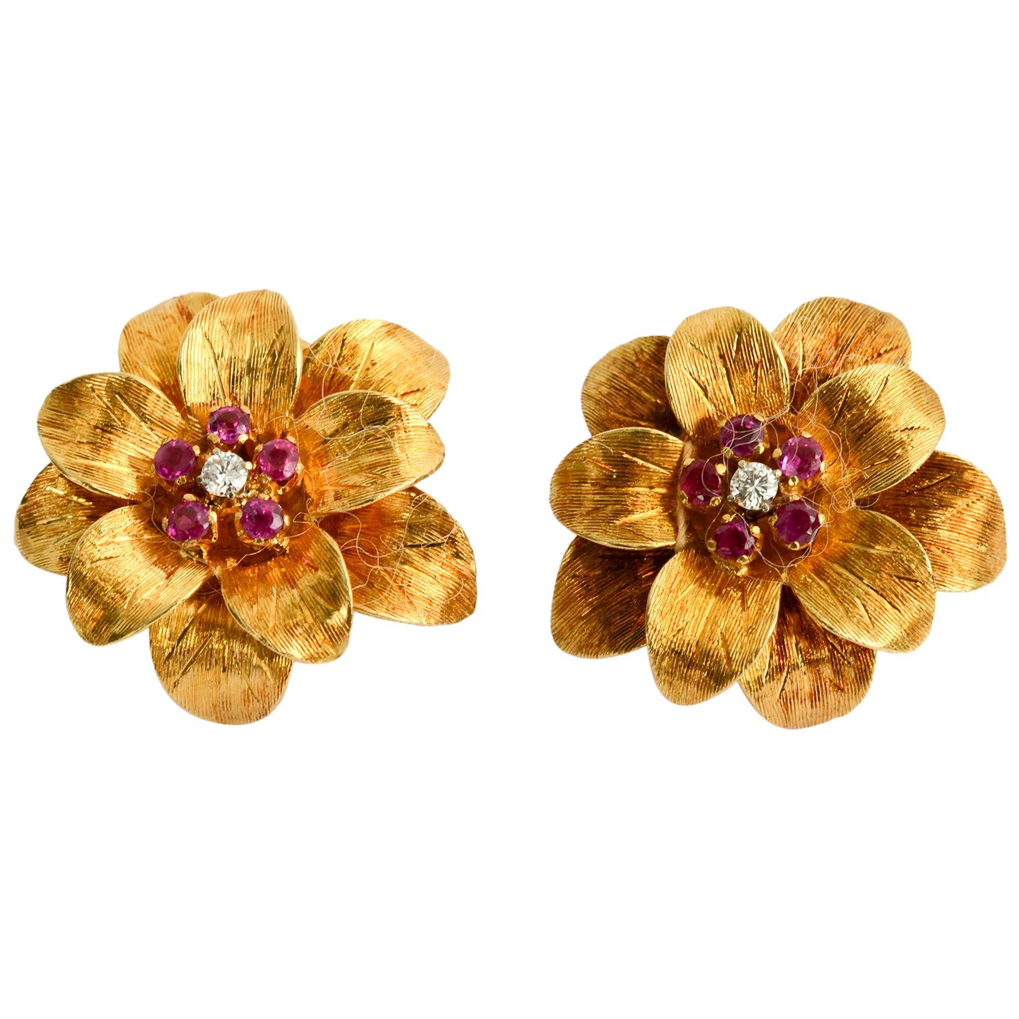Tiffany & Co. Ruby and Diamond Flower Earrings