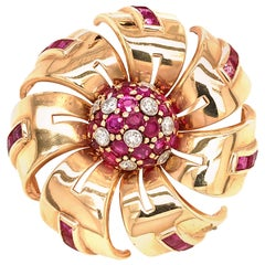 Tiffany & Co. Ruby and Diamond Pinwheel Brooch