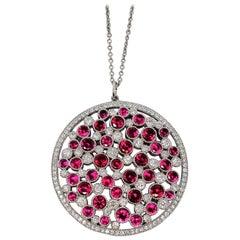 Tiffany & Co. Ruby and Diamond Platinum Cobblestone Medallion Pendant Necklace