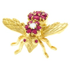 Tiffany & Co. Ruby and Diamond Set Gold Bee Brooch